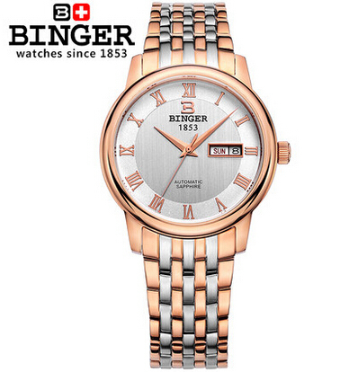 New Binger Fashion Geneva Men Business Watches gold Full Steel Analog Automatic Unisex Mens Wris ...
